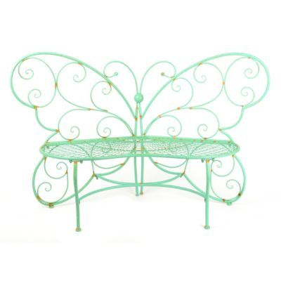 Product Details Patina Green Metal Outdoor Butterfly Bench