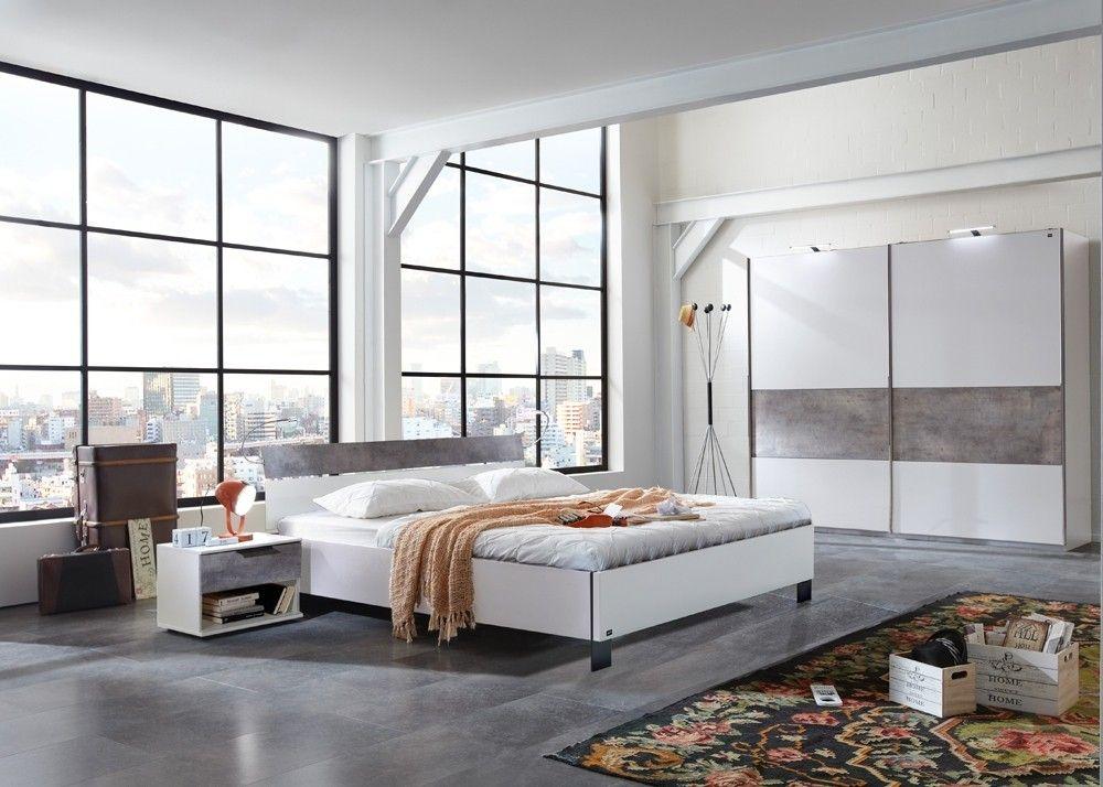Schlafzimmer komplett Cargo Weiß Betonoptik 10331 Buy now at - schlafzimmer komplett