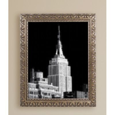 "Latitude Run Pixels Print Empire State Giclée Framed Photographic Print Size: 20"" H x 16"" W x 0.5"" D"