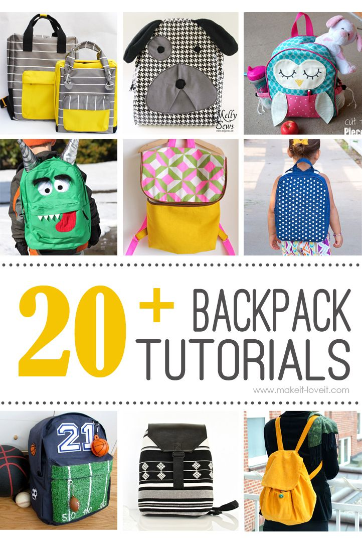 a416c2986e 20+ DIY Backpack Tutorials (child and adult styles)...great for back to  school! --- Make It and Love It