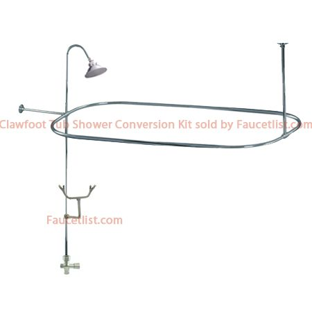 Chrome Clawfoot Tub Shower Conversion Kit With Enclosure Curtain Rod 10010c Clawfoot Tub Shower Clawfoot Tub Shower Conversion