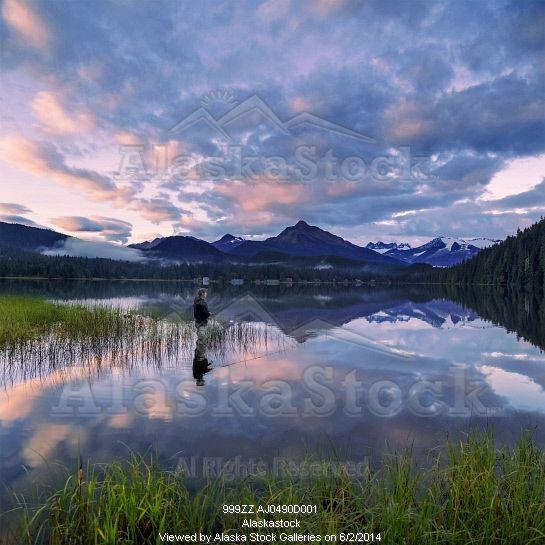 Photo Of Man Fly Fishing On A Quiet Evening At Auke Lake Juneau Alaska Juneau Alaska Lake