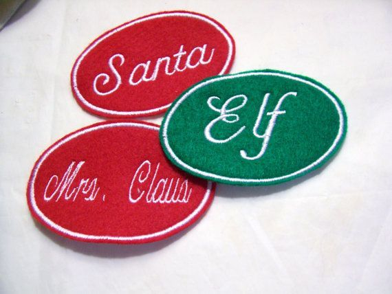 Embroidered Christmas Stocking Name Tag Patch Iron/Sew-On-Any Color-Any