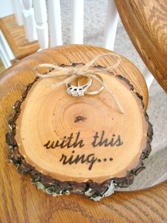 Rustic Wedding Ring Holder Wood Slice Ring Bearer Pillow With This Ring With Images Ring Holder Wedding Wood Wedding Ring Holder Rustic Wedding Rings