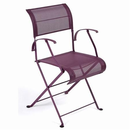 ET OF 2 DOUBLE WEAVE FOLDING ARMCHAIRS BY FERMOB Add some color to your dining, kitchen, patio, or backyard with these brightly colored Fermob folding chairs! The Fermob chairs are also easy to clean and store.
