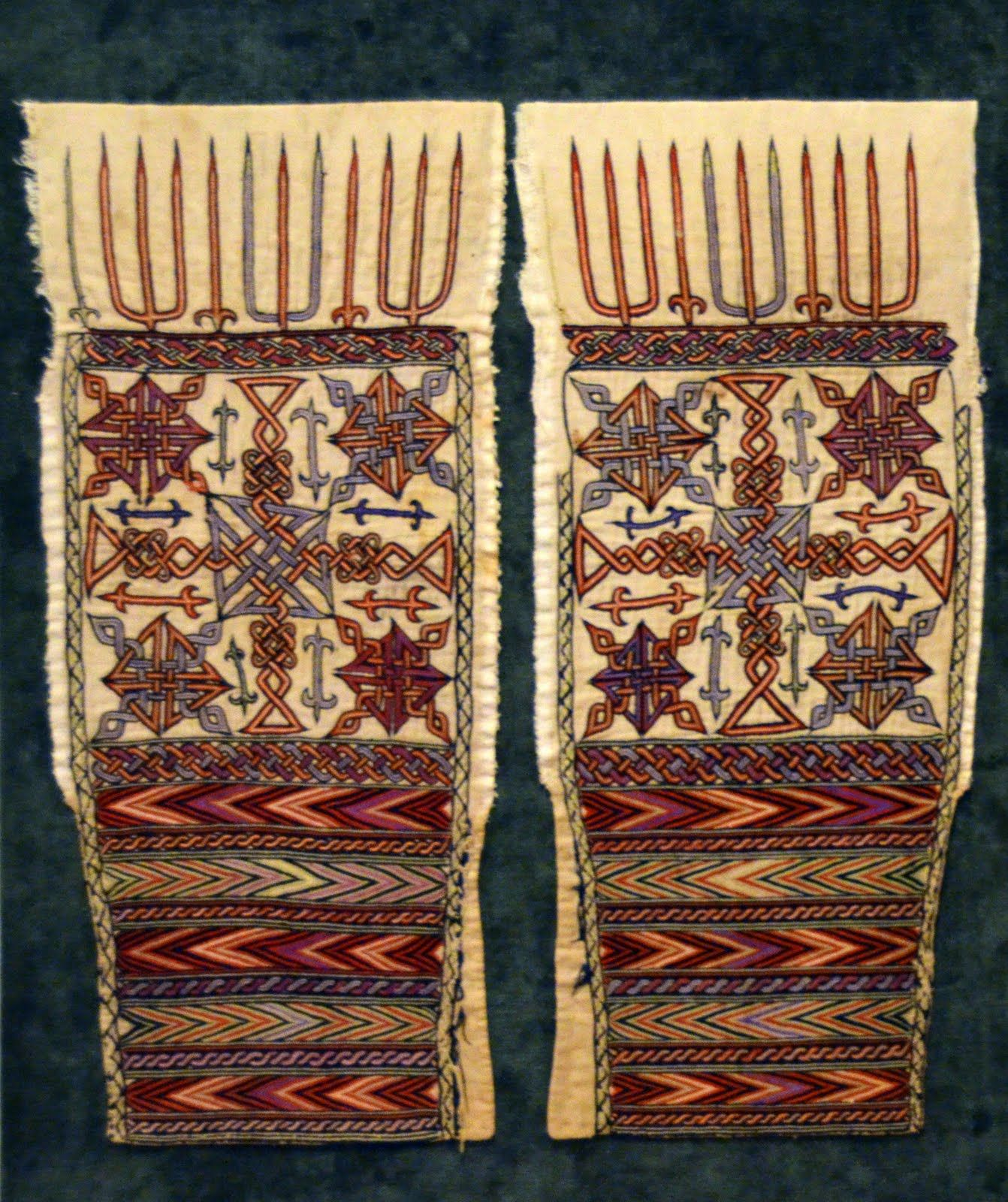 Historic embroidery on sleeves ethiopian historical textiles