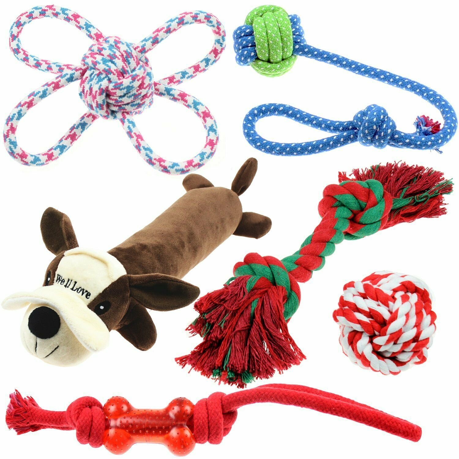 Well Love Dog Toys Chew Toys 100 Natural Cotton Rope Squeak
