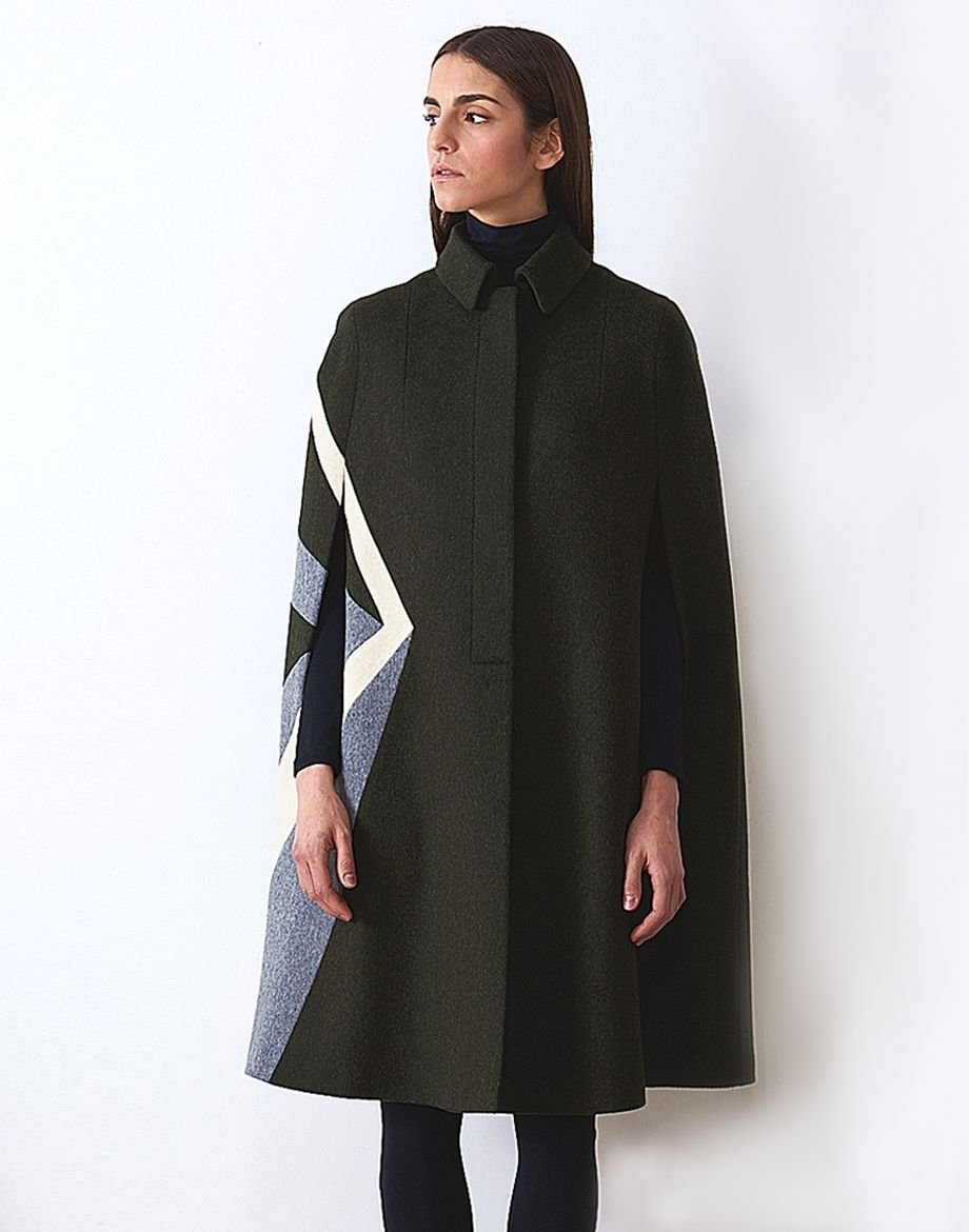 Below the knee green Loden Cape with hidden buttons and geometric white and  gray Loden intarsia bcf43436702