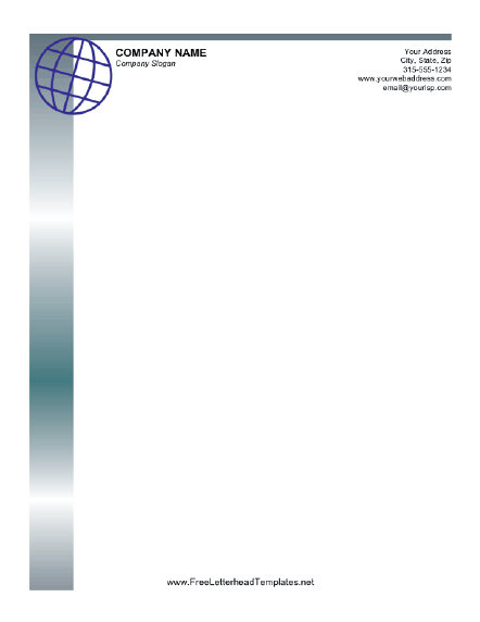 Professional letterhead with a globe design in blue Free to