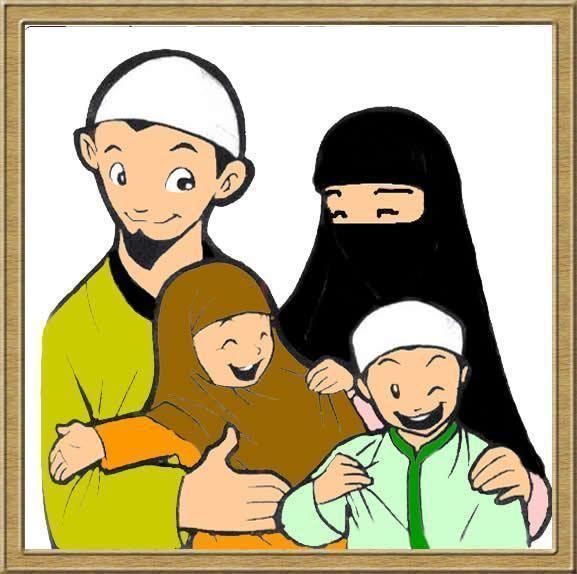 65 Gambar Kartun Keluarga Muslim Bahagia Terbaik