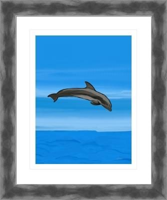 dolphin grey 7b with sky & water, by  fractal mandala art