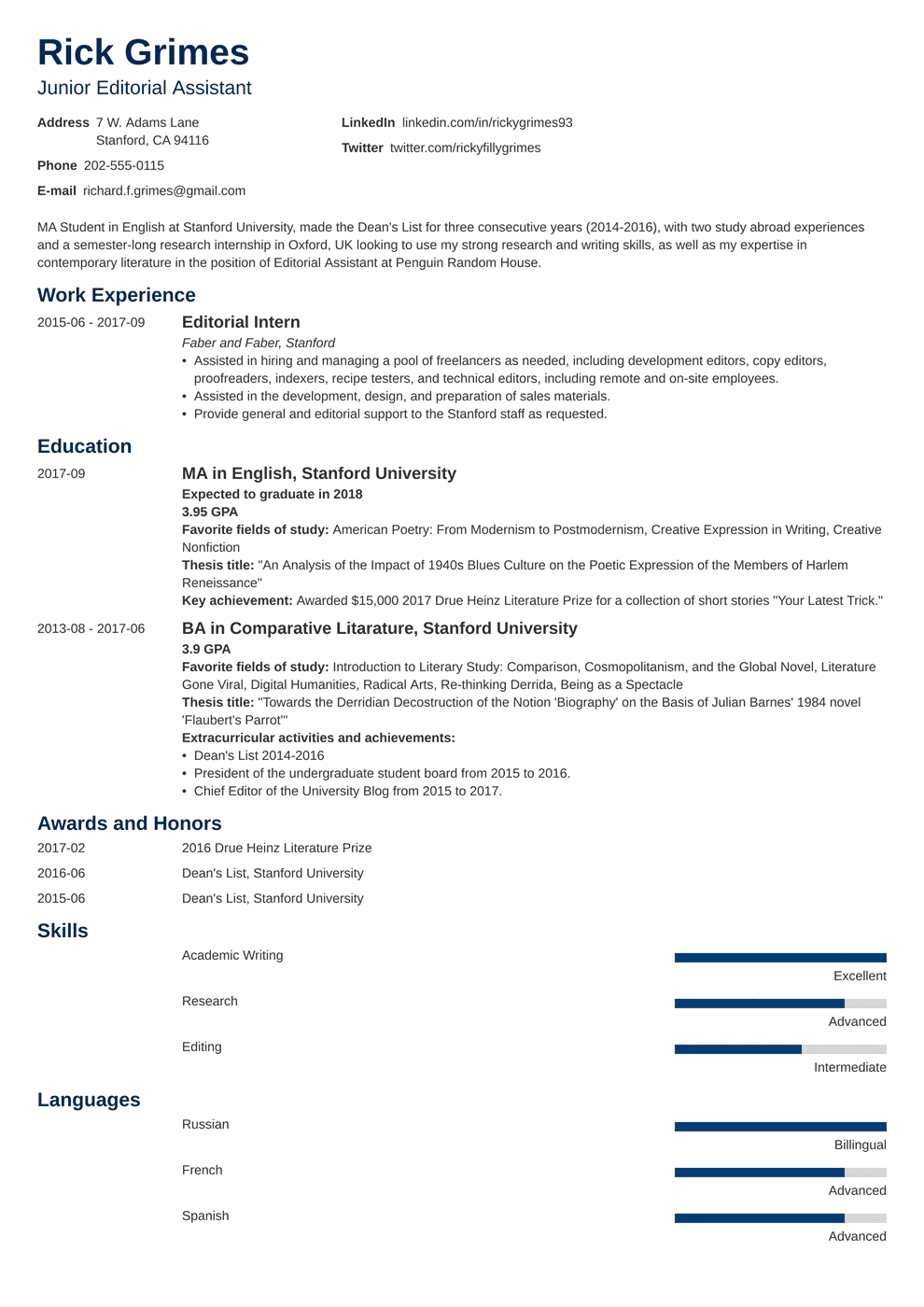 entry level resume template minimo in 2020 Student
