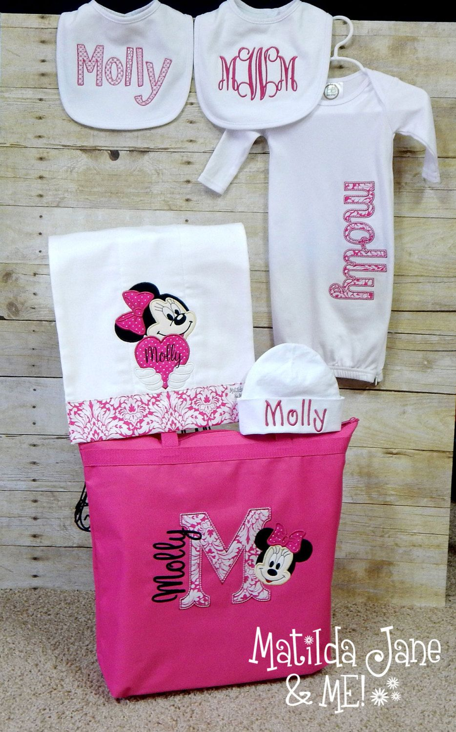 Minnie Mouse Baby Girl Coming Home Outfit Gift SET, Zippered Gown ...