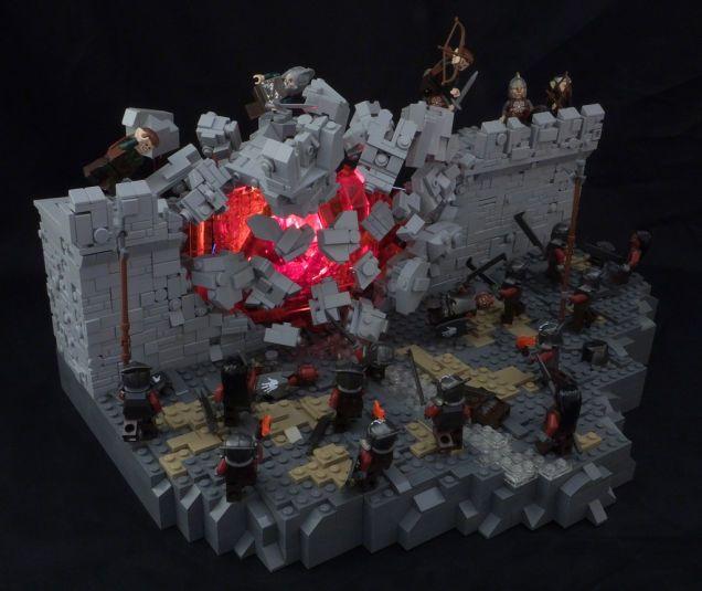 A Fantastic Lego Diorama Captures Helms Deep Mid Explosion Lego Design Lego Sculptures Lego Projects
