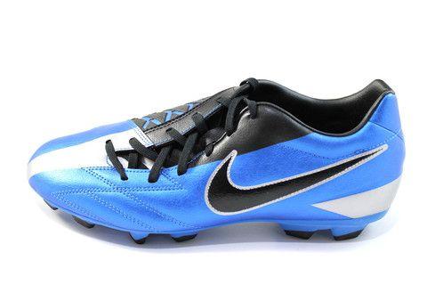 Nike Men's T90 Shoot IV FG Black/Blue/Silver Soccer Shoes 472547 400 #Nike #Mens #Soccer #Shoes #Black #Blue #Silver #Sneakers #Shopsneakerkingdom