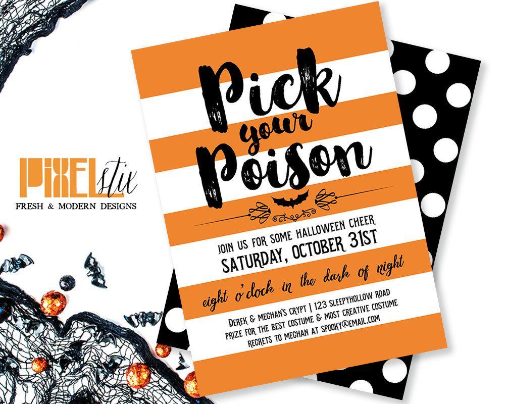 Pick your Poison - Halloween Invitation - Halloween Party ...