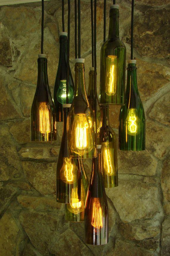 Oversized Reclaimed Wood Wine Bottle Chandelier Dining Room – Wine Bottle Chandelier