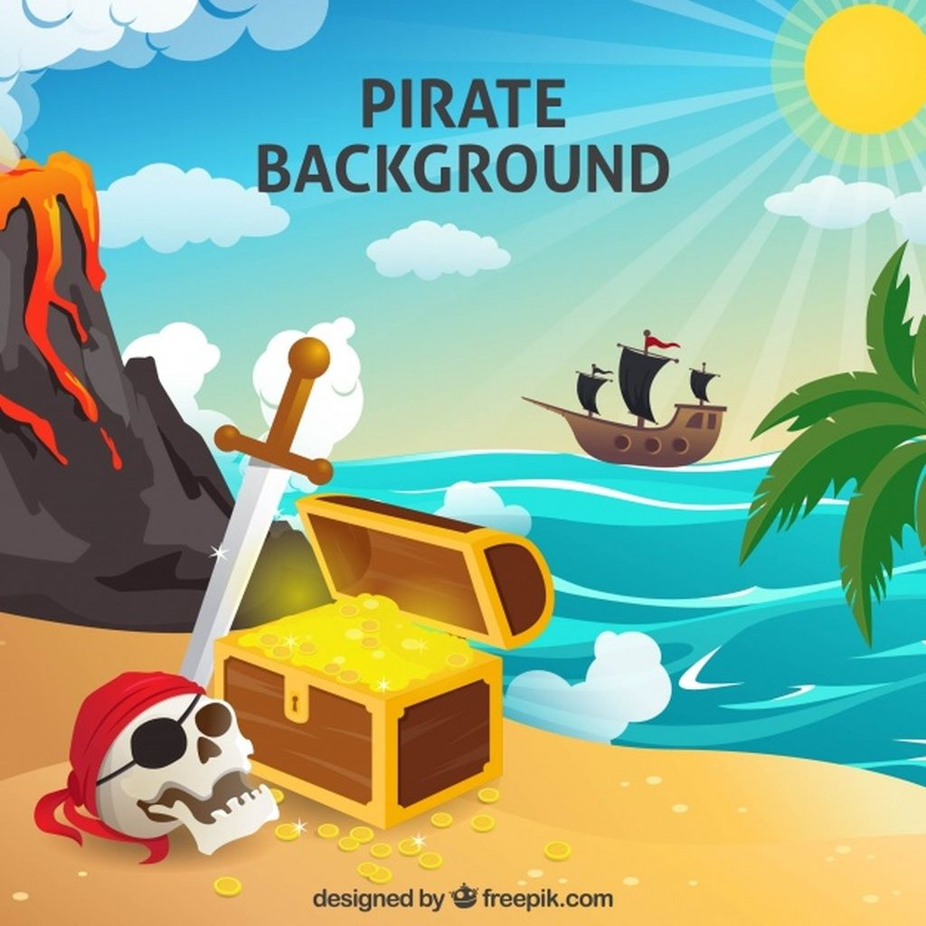 Pirate Background With Treasure And Skull Paid Paid Paid Background Treasure Skull Pirate Pirate Island Kids Pirate Party Background Design