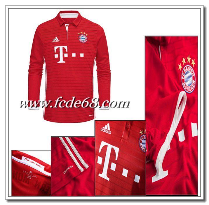 Neu Bayern Munchen Heimtrikot Langarm Adidas Rot 2016 2017 Bayern Munchen Trikot Bayern Trikot Trikot