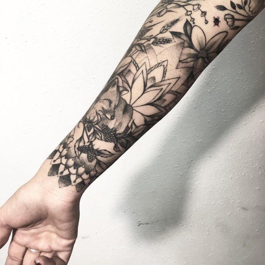 Nature Isnpired Sleeve Tattoo By V Shevchenko Sleeve Tattoos