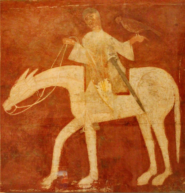 A Falconer in a Fresco from the Church of San Baudelio de Berlanga, Soria, Spain - 12th century