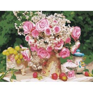 Нежный букет с розами 50х65см Раскраска по номерам ...
