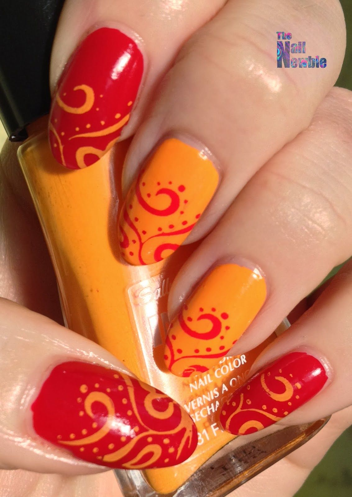 Nail Newbie Notd: Nail Newbie: Tri Polish Challenge Red, Orange And Yellow