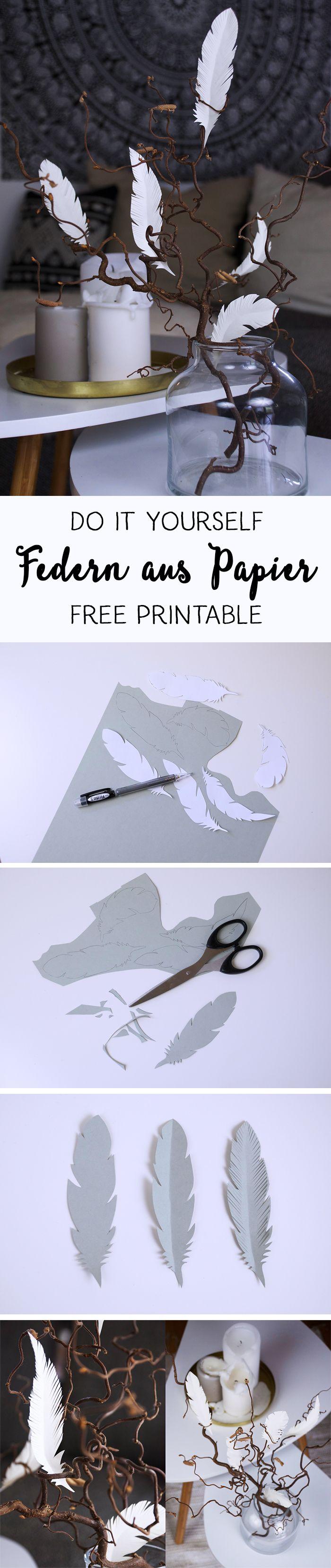 Photo of {DIY} Dekorasjonstips med papirfjær // gratis utskrivbar