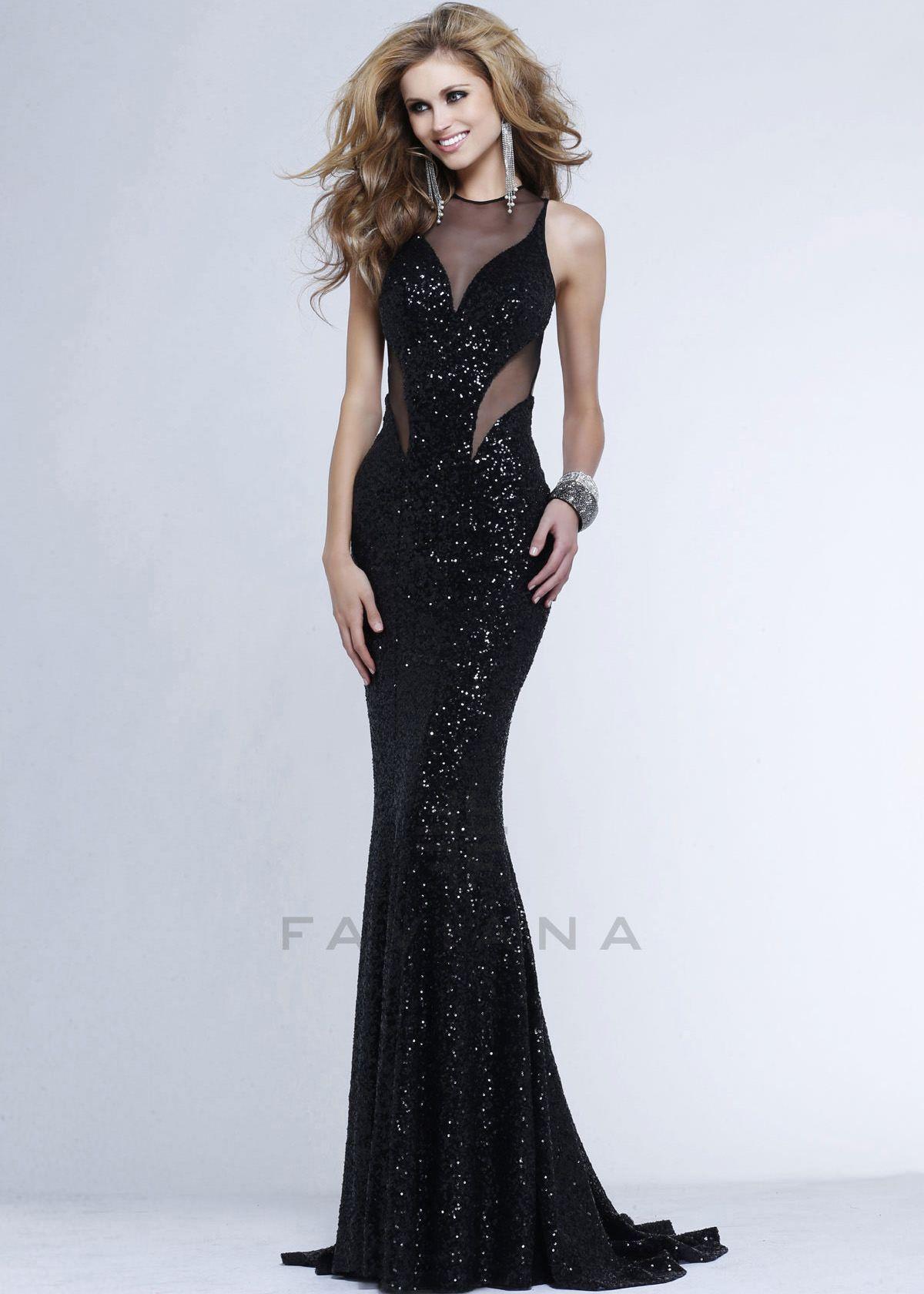 Faviana 7331 Mermaid Silhouette Sequin Gown | Illusion dress ...