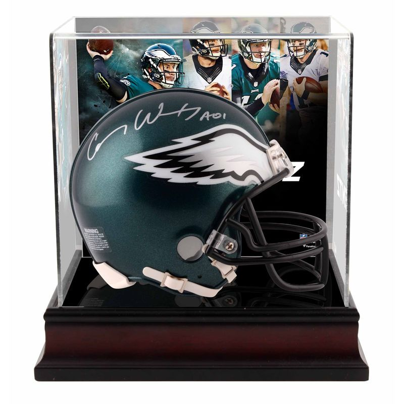 Carson Wentz Philadelphia Eagles Fanatics Authentic Autographed Riddell Mini Helmet with Deluxe Mini Helmet Case
