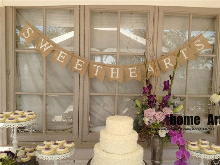 Sweets Burlap Banner Wedding Reception Decor Sign Dessert Table