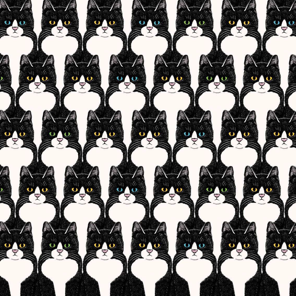 ハチワレ猫のシームレスパターン「マタタビ」 #パターン