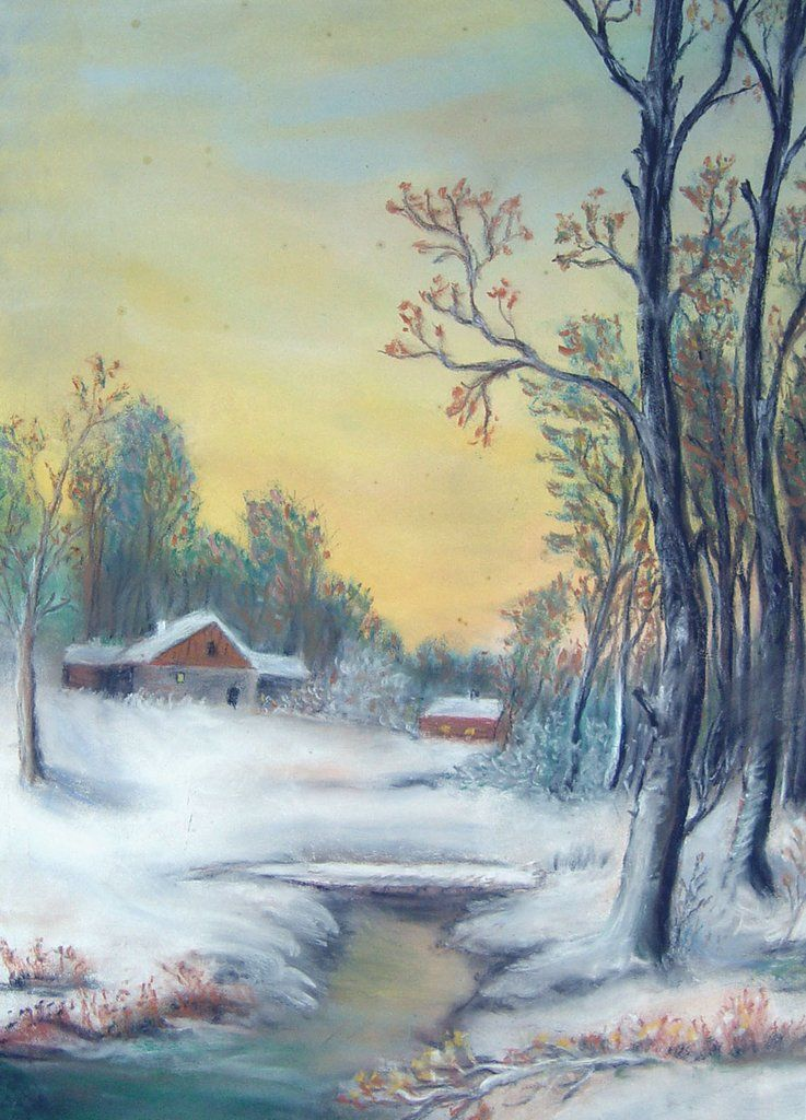 Interior Design Easy Drawing: Winter Sunrise Pastel On Paper