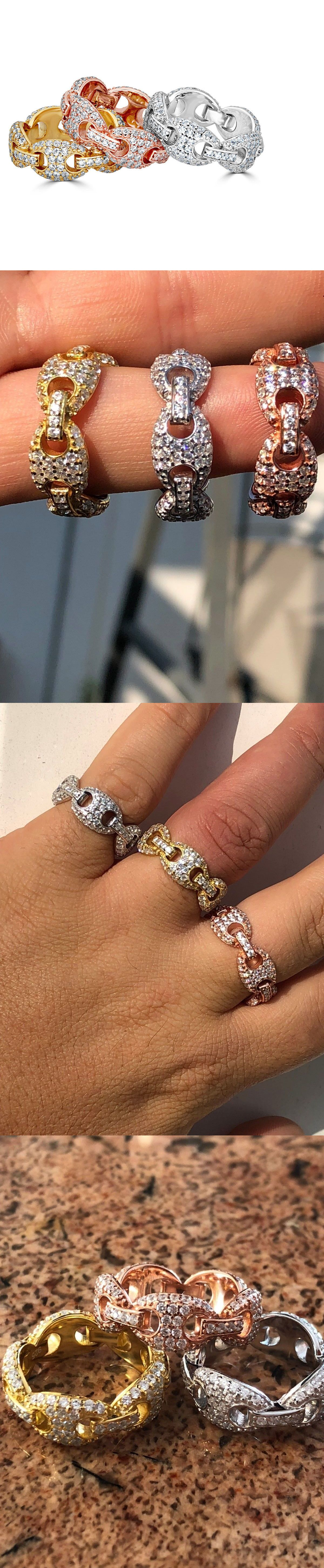 1b7a5200b Rings 137856  Solid 925 Silver Gucci Link Diamond Pinky Ring 14K Gold  Wedding Band Mens Ladies -  BUY IT NOW ONLY   32.29 on  eBay  rings  solid   silver ...