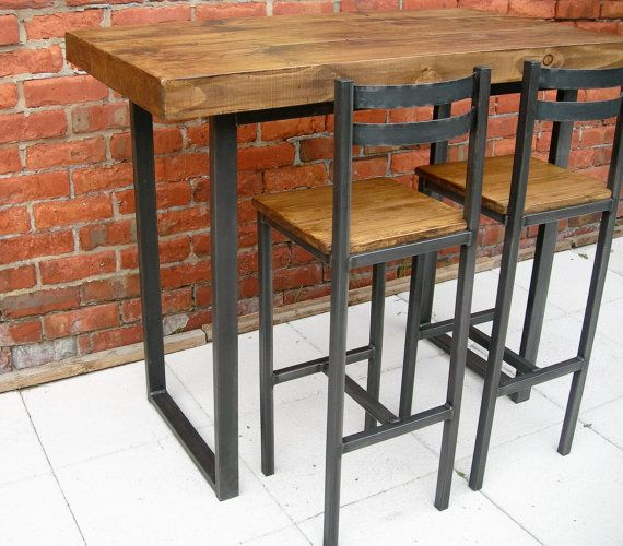 Table U0026 Bar Stools Rustic Industrial Breakfast Bar Table And Bar Stools  With Backs