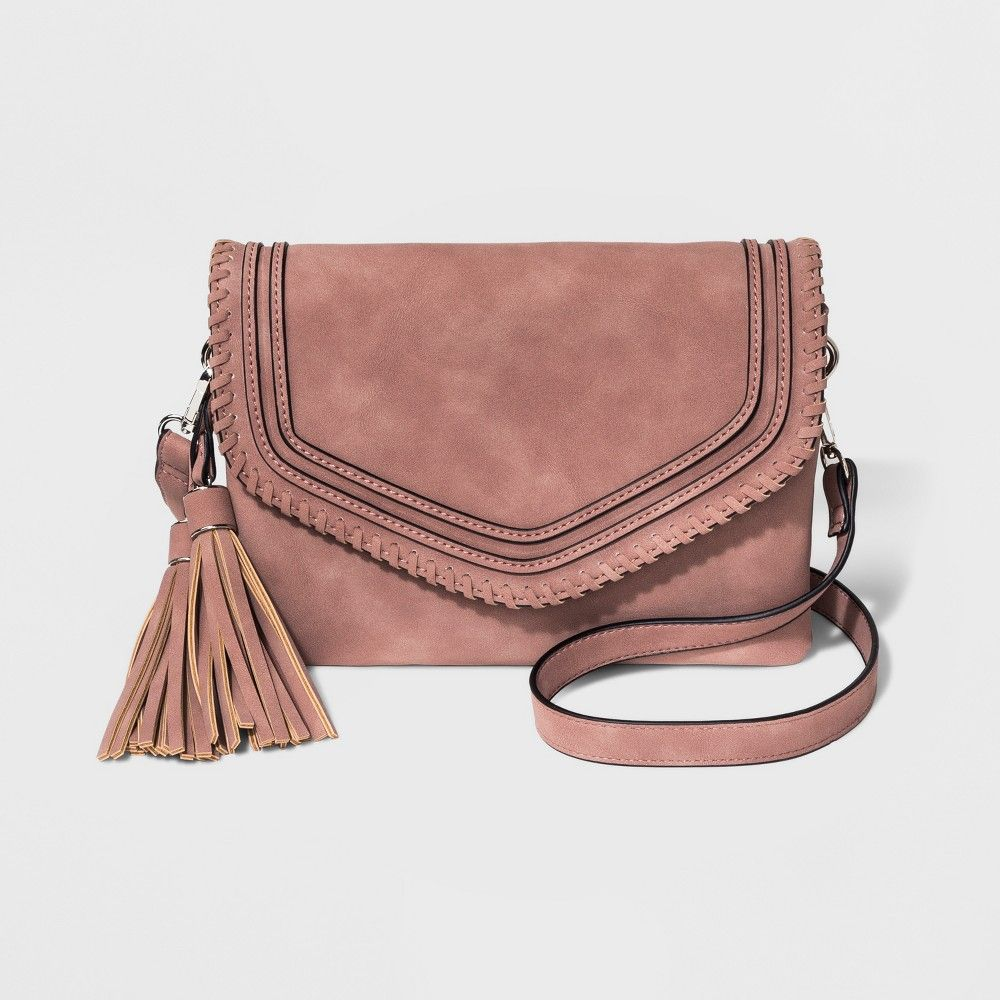 c5a7c0fafc25 Violet Ray Tessa Crossbody Bag With Whipstitching And Tassel - Pink ...