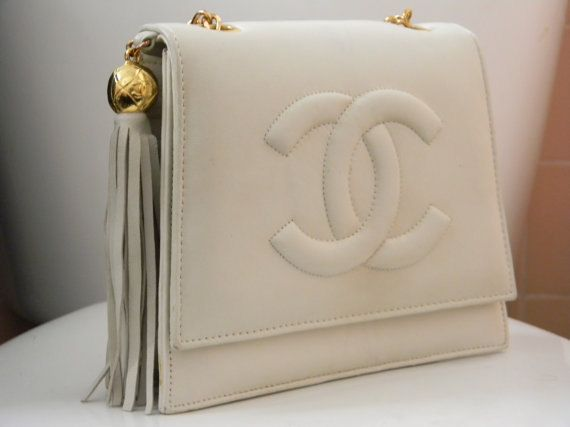 Vintage 80s chanel white flap tassel bag  323ebaf0ecb12