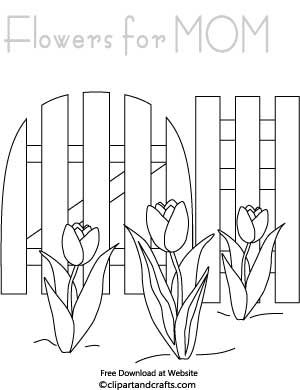 Mothers Day Garden Flowers Coloring Page
