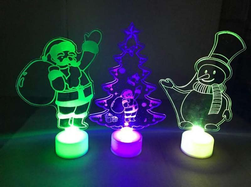 Colorful Led Decorative Lights New Year S Products Christmas Tree Snowman Santa Claus Decorations Party Supplies Home Decor