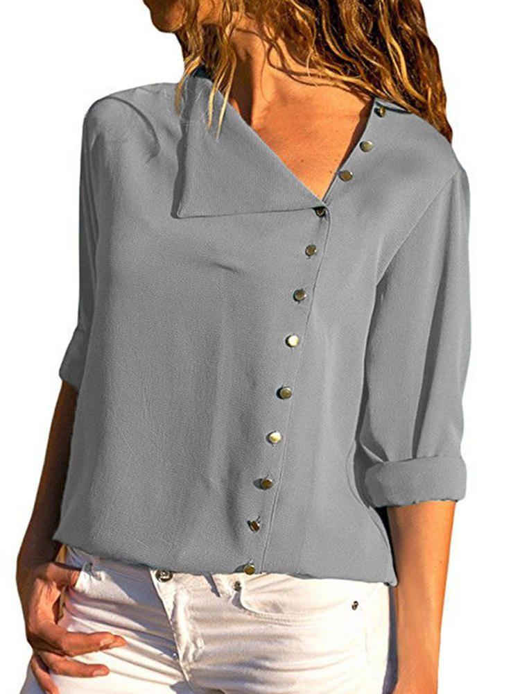 ec1f2cb9c4d11 Mujer Blusa de manga larga con botones abotonados sueltos ...