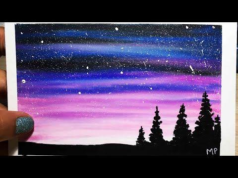 Como Pintar Un Paisaje Estrellado Fácil Tizas Pastel