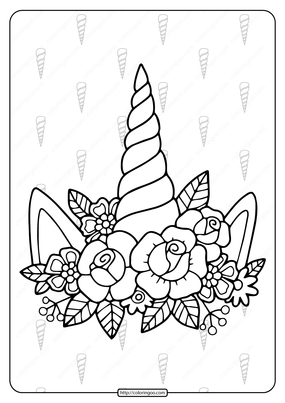 Printable Unicorn Horn And Flowers Coloring Page Unicorn Coloring Pages Unicorn Printables Coloring Pages