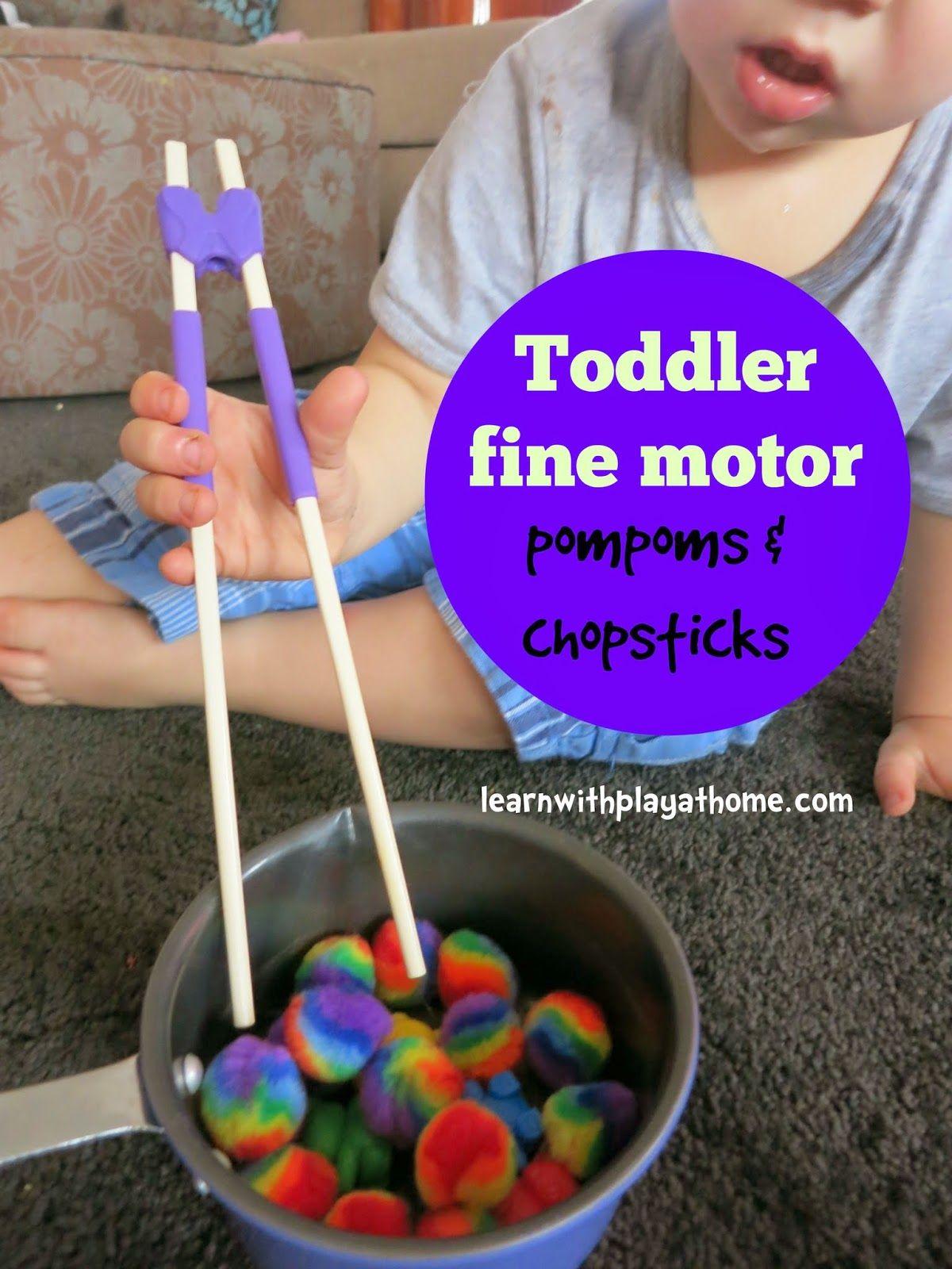 Toddler Fine Motor Activity Pompoms And Chopsticks