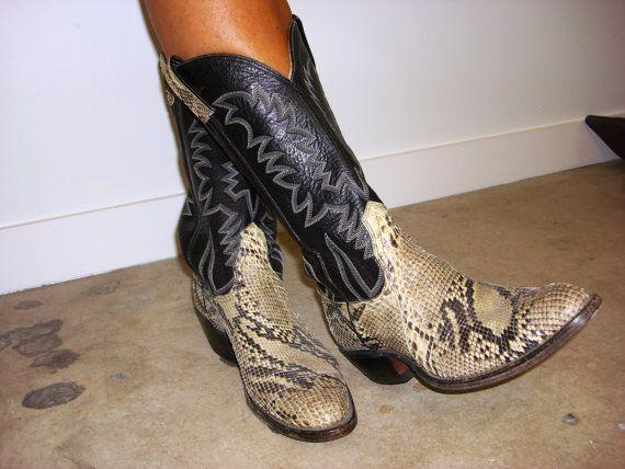 Women CowBoy snakeskin boots custom