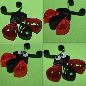 kleine fr hlingsboten marienk fer aus quilling streifen. Black Bedroom Furniture Sets. Home Design Ideas