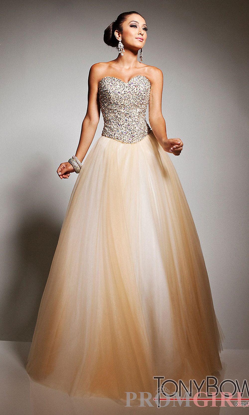 Strapless Gold Ball Gown by Tony Bowls | Ball gowns, Prom and Gowns