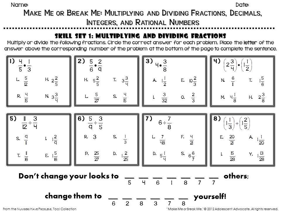 Fun math worksheet sample There are fun activities like this – Dividing Rational Numbers Worksheet