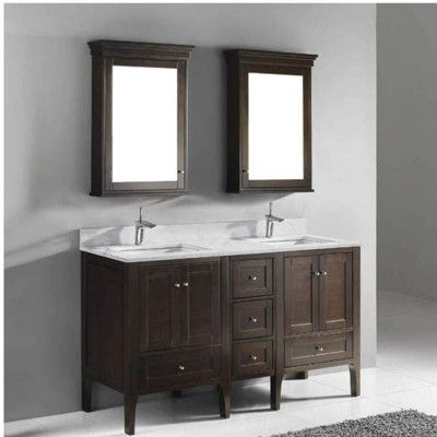 Walnut Madeli Torino 60 inch Double Bathroom Vanity with two mirrors
