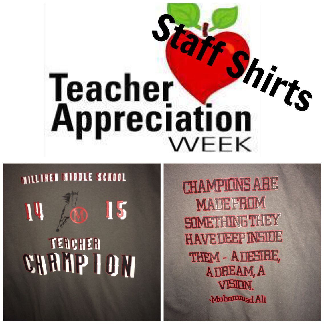 "Teacher Champion T-shirts-in continuing with this year's theme, ""Every ChildNeeds a Champion"", teachers were given a TEACHER CHAMPION tee to celebrate Teacher Appreciation Week"