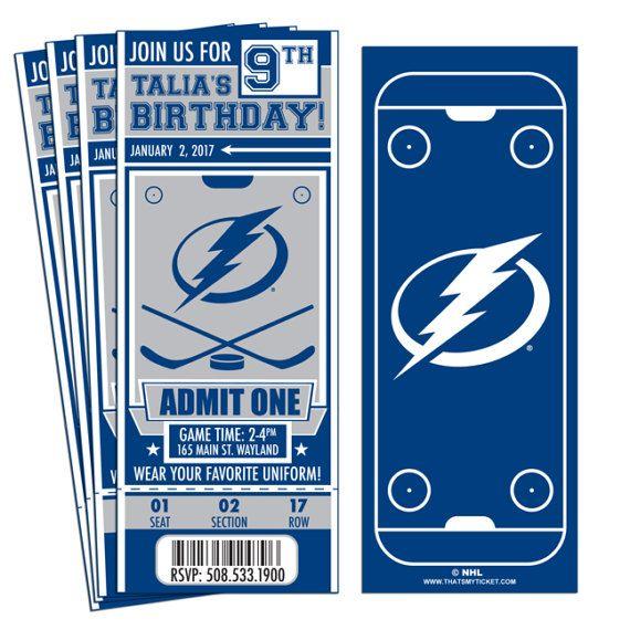 12 Tampa Bay Lightning Custom Birthday Party Ticket Invitations